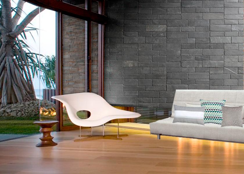 Dark walls created with Stonetack natural slate